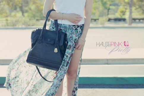 www.HautePinkPretty.com - An Dyer wearing Cole Haan Brooke Tote Bag, TopShop Floral Printed Maxi Skirt, Glint & Gleam Gold Arrow and Sideways Cross Bracelet c/o ShopLately