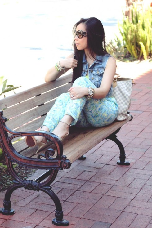 www.HautePinkPretty.com - An Dyer wearing Glint & Gleam Sideways Cross Necklace and Arm Swag, Prada Round Baroque Sunglasses, Louis Vuitton Damier Azur Saleya Gm, Michael Kors Watch, Mykonos Pants,Forever 21 Tank & Distressed Denim Vest, Aldo Sandals