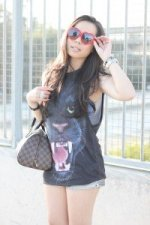 www.HautePinkPretty.com - An Dyer wearing Kristin Perry Red Swarovski Crystal Lolita Style Fashion Sunglasses, Forever 21 Jaguar Sublimation Tank and Silver Metallic Shorts, Louis Vuitton Damier Ribera Mm