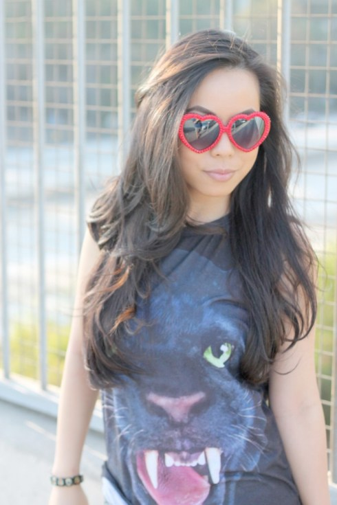 www.HautePinkPretty.com - An Dyer wearing Kristin Perry Red Swarovski Crystal Lolita Style Fashion Sunglasses, Forever 21 Jaguar Sublimation Tank and Silver Metallic Shorts, Louis Vuitton Damier Ribera Mm