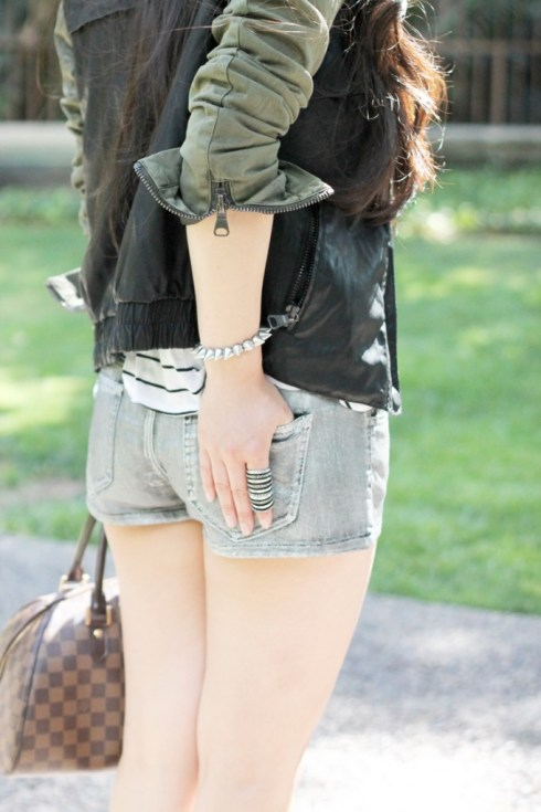 www.HautePinkPretty.com - An Dyer wearing Zara Combined Sleeve Jacket Military Green Camo Leather, H&M Striped Trapeze Tank, Forever 21 Silver Metallic Shorts, Silver Spiked Bracelet, Nordstrom Pewter Crystal Rhinstone Belt,  Decree Hinged Wrap Ring, Michael Kors Mother of Pearl Chronograph Watch