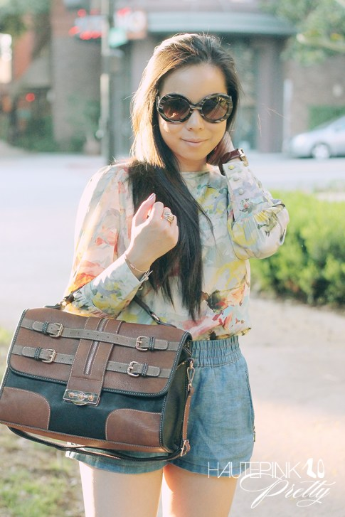 www.HautePinkPretty.com - An Dyer wearing Ainsley Equestrian Horse Watercolor Printed Blouse, Zara Linen Denim Shorts, Melie Bianco Darlene Bag in Black, Prada Baroque Round Sunglasses, Michael Kors Parker Leather Chronograph Watch, Glint & Gleam Love Rose Gold Bracelet, Sole Society Alexis Peeptoe Heels