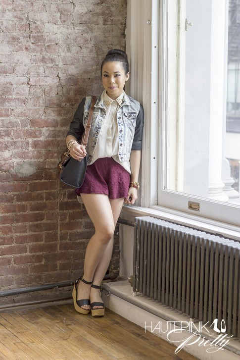 www.HautePinkPretty.com - An Dyer wearing SwayChic gold Rounded Stud Collar Blouse collar sheer sleeveless blouse, Zara combined denim leather jacket, Forever 21 Burgundy maroon oxblood wine Lace Shorts, Seychelles Edge of Your Seat Wedge Black, Melie Bianco Darlene Bag, Hauskrft You Had Me At Hello Leather Bracelet