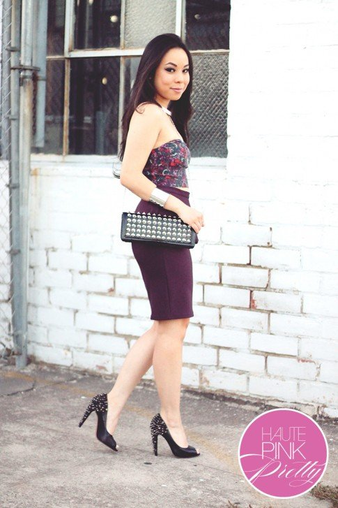 www.HautePinkPretty.com - An Dyer wearing Urban Outfitters Sparkle & Fade Button Back Bra Top, Topshop Oxblood Scuba Peplum Pencil Skirt, Oasap Black Chic Studded Rectangle Purse Studded Clutch, Sam Edelman Lorissa Peeptoe Pumps in Black Leather, Silver Collar Necklace & Double Cuffs