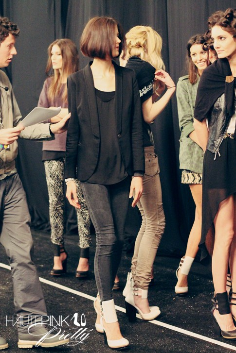 BCBGMaxazria Runway SS13 Backstage Behind the Scenes - Models Prepping Practicing