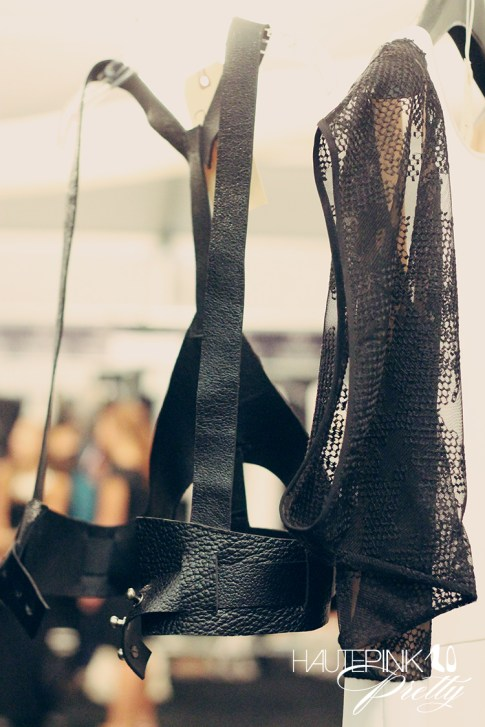 BCBGMaxazria Runway SS13 Backstage Behind the Scenes - Black Leather Harnesses