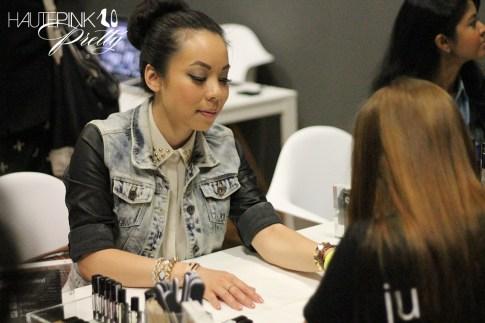 IFBCon 2012 - An Dyer wearing SwayChic Studded Collar Blouse, Zara Combined Denim Leather Jacket, Melie Bianco Darlene Bag, Donut Bun, TopKnot - Getting nails done at JulepMaven