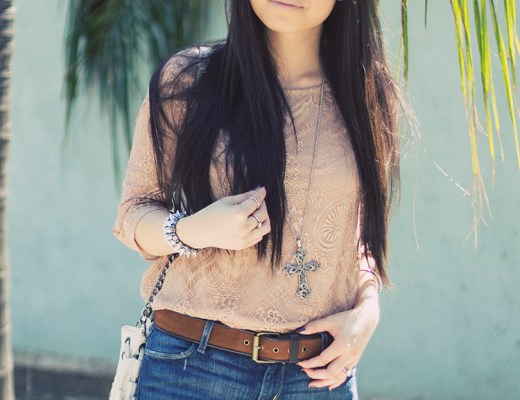 www.HautePinkPretty.com - An Dyer wearing Levi's Skinny Jeans, Forever 21 Mauve Dusty Rose Blush Lace Shirt, Cross Necklace & Suede Belt, Melie Bianco Cream White Ivory Fringe Bag, Glint & Gleam Silver Love Bangle Bracelet c/o ShopLately, Nordstrom KW 'Rush' Mirrored Aviator Sunglasses
