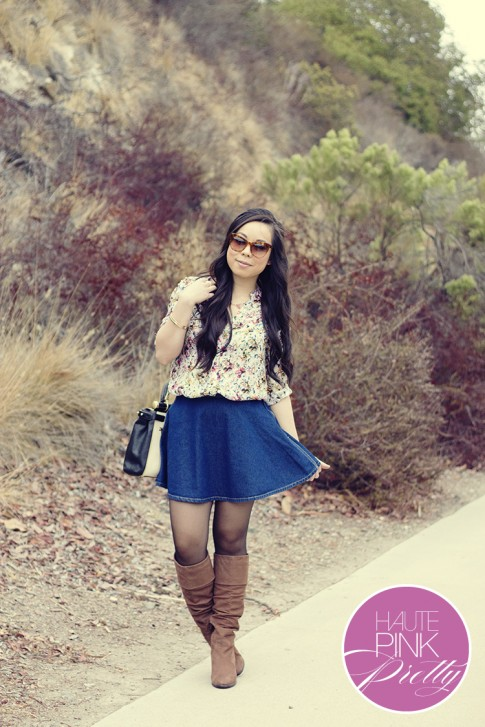 www.HautePinkPretty.com - An Dyer wearing Zara Mulberry Silk Floral Studded Blouse, American Apparel Denim Circle Skirt, Elizabeth & James Lafayette Sunglasses, Diba CAM O MEEL Boots, BCBGMaxazria Milano Andrea Medium Satchel, Glint & Gleam Cut Classic Collar Necklace, Right Direction Bangle Set and Show Your Claws Ring c/o Shoplately, Michael Kors Parker Chronograph Leather Watch