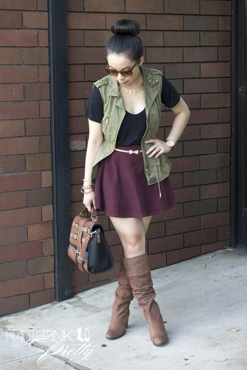 www.HautePinkPretty.com - An Dyer wearing Zara Studded Military Green Camo Vest, American Apparel Truffle Corduroy Circle Skirt, Diba Cam O Meel Boots Light Brown, Melie Bianco Darlene Satchel, Glint & Gleam HautePinkPretty's Bolted Leather Bracelet in Khaki, The Bentley Blonde Necklace, Right Direction Bangle Set and Finishing Touch Cuff c/o ShopLately, Elizabeth & James Lafayette Sunglasses, Asos Jaguar Belt, Michael Kors Parker Leather Chronograph Watch