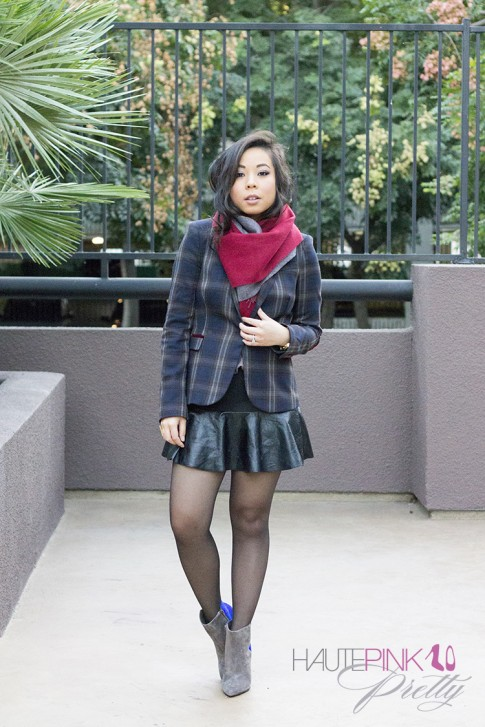 www.HautePinkPretty.com - An Dyer wearing Qi New York Cashmere Scarf, Zara Checked Blazer with Elbow Patches and Mini Skirt with Leather Frill, Sole Society Aster Boots in Charcoal Blue, Glint & Gleam Call Me Classic Chain Bracelet, Swerve Cuff, Luxe Bolt Bangle, Finishing Touch Cuff and Modern Tribal Ring