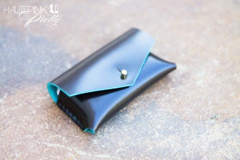 www.HautePinkPretty.com - HAUSKRFT Genuine Italian Patent Leather Envelope Style Business Card Holder