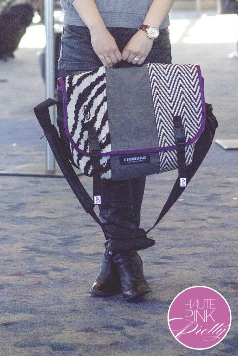 An Dyer wearing Timbuk2 Custom Messenger Laptop Bag, Sole Society Rumer Boots 3