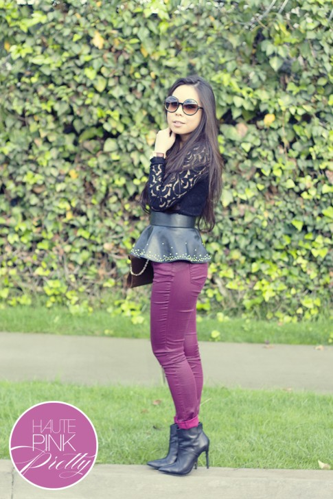 www.HautePinkPretty.com - An Dyer wearing Tom Ford Carrie Sunglasses, Sugarlips Apparel Black Lace Some Sort of Magic Top, Zara Peplum Belt, YMI Jeans Oxblood Burgundy Coated Skinny Denim Pants, Olive Velour Velvet Envelope Clutch, Vintage Gold Bangles, ShoeMint Abi Boots, Michael Kors Parker Leather Watch