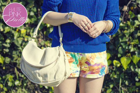 www.HautePinkPretty.com - An Dyer wearing American Apparel Fisherman's Pullover, Allison Chomer Tropics Shorts, Sole Society Francesca in Stucco, Cuore & Pelle Tonia Bag, Glint & Gleam Sleek With Texture Collar Necklace, Get Cuffed Leatherette Cuff, Gilded Art Bangle Set, Prada Baroque Sunglasses