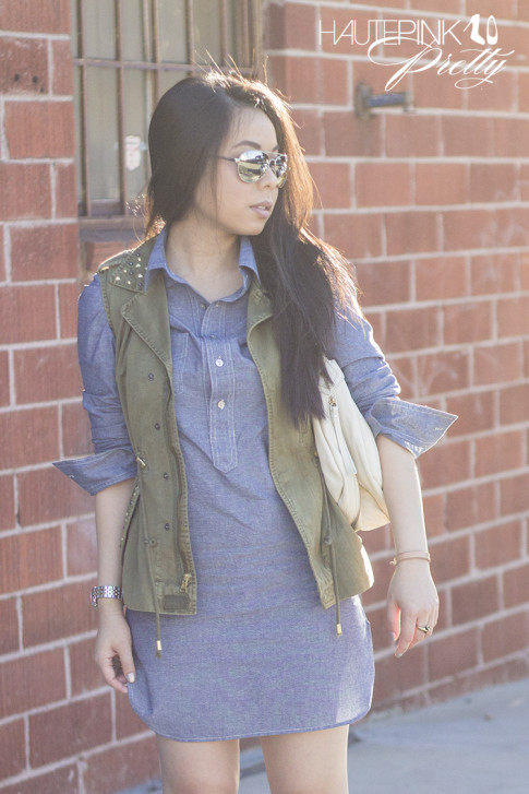 www.HautePinkPretty.com - An Dyer wearing Amour Vert Alexa Chambray Tunic, ShoeMint Bianca nude Platform Sandals, Cuore and Pelle Tonia Bag, Mirrored Aviators, Zara Camo Green Studded Vest, Michael Kors Mother of Pearl Chronograph Watch, Glint & Gleam Elephant Ring ShopLately, Hauskrft You Had Me At Hello Leather Bracelet