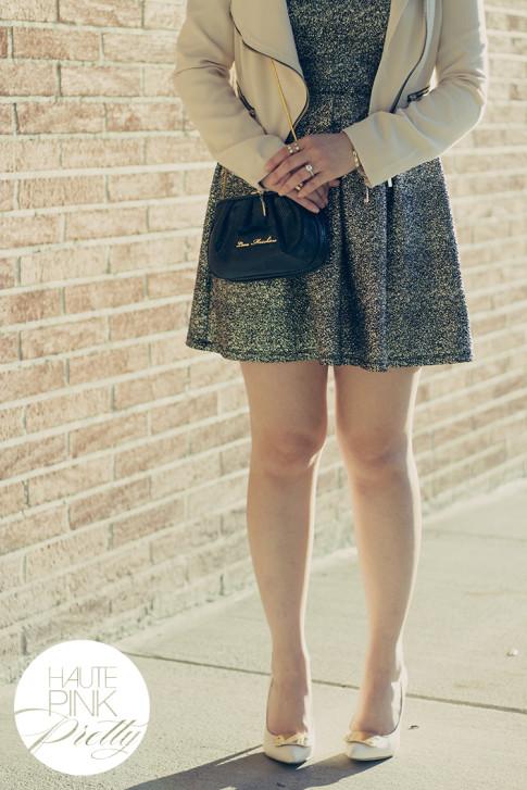 www.HautePinkPretty.com - An Dyer wearing Last Night STINGRAY DRESS, Sole Society Rory Crema, Love Moschino Clutch, Lucy Paris Jacket, Glint & Gleam Rings & Bracelets ShopLately