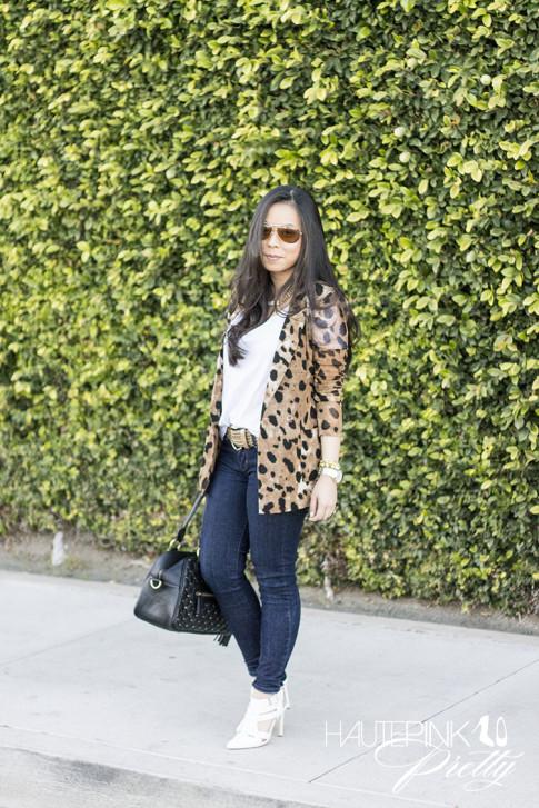 An Dyer wearing Vaunt Eyewear Leopard Etched Aviator Sunglasses, Leopard Mesh Blazer, Michael Stars Tee, THEIT Studded Bossi, ShoeMint Garbo White