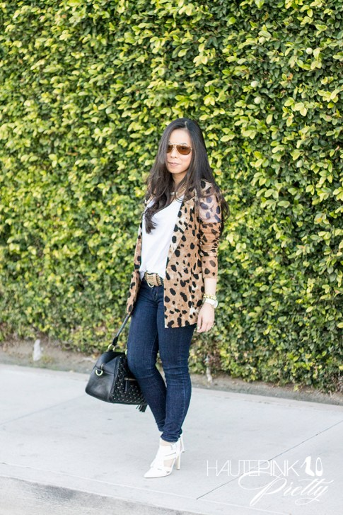 An Dyer wearing Vaunt Eyewear Leopard Etched Aviator Sunglasses, Leopard Mesh Blazer, Michael Stars Tee, THEIT Studded Bossi, ShoeMint Garbo White