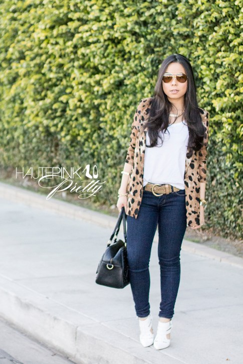 An Dyer wearing Vaunt Eyewear Leopard Etched Aviator Sunglasses, Leopard Mesh Blazer, Michael Stars Tee, THEIT Studded Bossi, ShoeMint Garbo