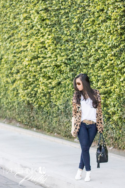 An Dyer wearing Vaunt Eyewear Leopard Print Aviator Sunglasses, Leopard Mesh Blazer, Michael Stars Tee, THEIT Studded Bossi, ShoeMint Garbo White