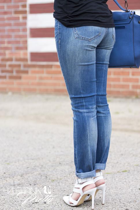 An Dyer wearing Ditto Brand Jeans, Black Tshirt, ShoeMint White Garbo Pumps,  Melie Bianco Villette Vegan Leather Blue