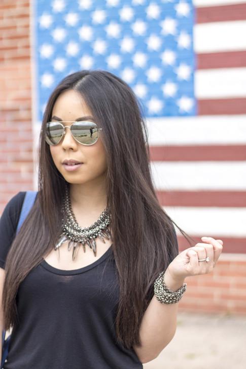 An Dyer wearing Ditto Brand Jeans, Coco Rocha Senhoa Jewelry, Mirrored Aviators, Black Tee