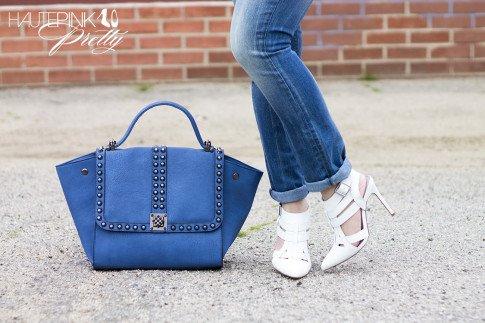 An Dyer wearing Ditto Brand Jeans, ShoeMint White Garbo Pumps,  Melie Bianco Villette Vegan Leather Blue