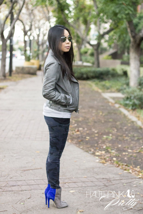 An Dyer wearing NPR Sweatshirt Tee by Chaser Brand, Zara blue camo pants, SoleSociety Aster Boots, Grey Perforated Leather Moto Jacket, Mirrored Aviatora