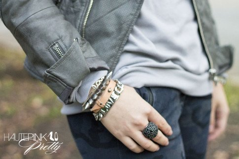 An Dyer wearing NPR , Zara blue camo pants, Grey Perforated Leather Moto Jacket, Glint & Gleam Love Silver Bracelet, Love Letter Bangle ShopLately, Hauskrft You Had Me At Hello Leather Bracelet