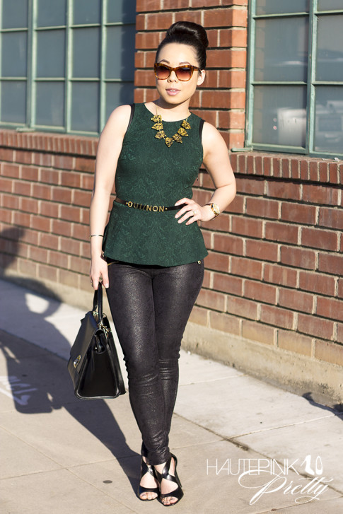 An Dyer wearing Zara Emerald Brocade Peplum Top, Snake Print Suede Pants, Vivienne Kelly Khloe Necklace, Elizabeth & James Lafayette Sunglasses, Asos Oui Non Skinny Waist Belt, Sole Society Dawn Sandals