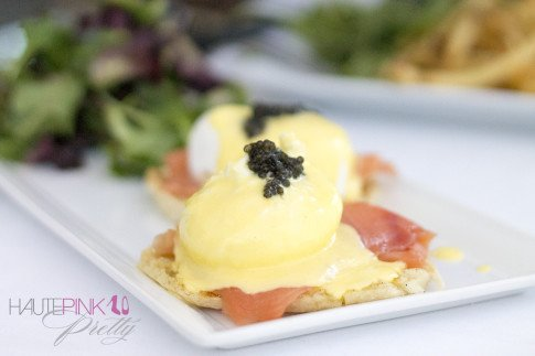HautePinkPretty Brunch at Petrossian Paris WeHo West Hollywood Eggs Benedict with Smoked Salmon and Caviar