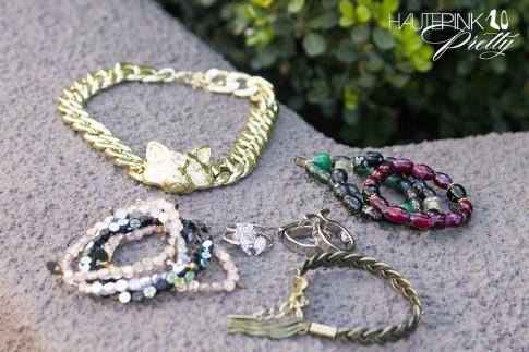 HautePinkPretty roadtoMAGIC What I'm Packing for Vegas - Glint & Gleam Fox Necklace, Haute Betts Bracelets, Jewelmint Braided Broze Bracelet, Alexandria Rings, Cosmic Love Rings