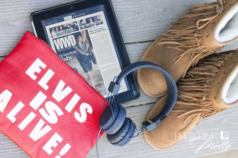 HautePinkPretty roadtoMAGIC What I'm Packing for Vegas - In Flight Must Haves Friend of Mine Elvis is Alive Clutch, ipad, UrbanEars Denim Headphones, Lamo Fringe Sammi Boots