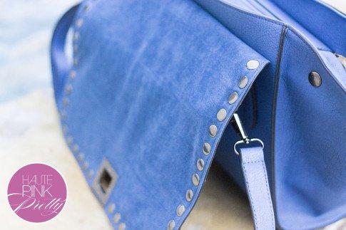 Melie Bianco Villette Blue F3190 Vegan Leather  Handbag inside faux suede flap detail on HautePinkPretty