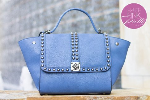 Melie Bianco Villette Blue F3190 Vegan Leather Handbag on HautePinkPretty