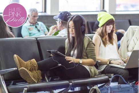 roadtoMAGIC Airport Attire An Dyer wearing UrbanEars Denim Headphones, Michael Stars, Sassybax Leggings, Lamo Sammi Boots, Melie Bianco Villette