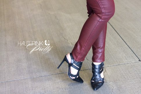 An Dyer wearing Bleulab Ruby Coated Reversible Jeans, ShoeMint Garbo Pumps