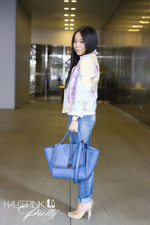 An Dyer wearing This Is A Love Song's No Doubt Tie Dye Moto Jacket, Ditto Jeans, Melie Bianco Villette, Sole Society Francesca Pumps, Michael Kors Mother of Pearl Chronograph Watch