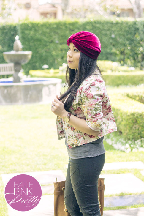 An Dyer wearing Tulle Floral Jacket, Kristin Perry Oxblood Velvet Full Turban Headpiece ShopLately, Olivia & Joy Camel Controversy Tote, Chaser Brand Tee