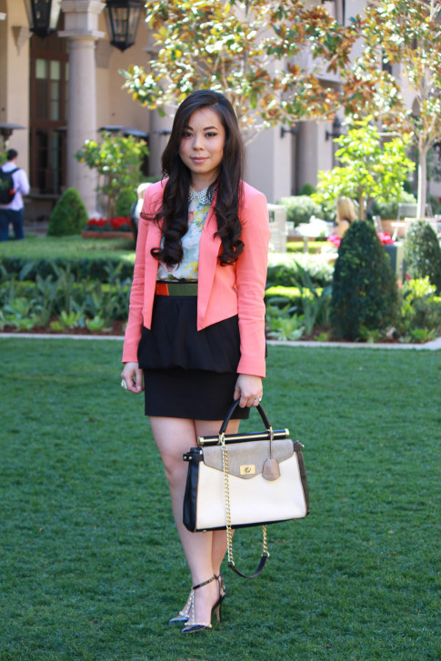 Bebe Girls Who Lunch - An Dyer wearing Bebe Debbie Crepe Crop Blazer, Ainsley Galloping Horse Blouse, BCBG Maxazria Andrea Satchel,  ASOS Spike & Plate Belt, Zara Peplum Skirt, Sole Society Margie Pump