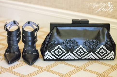 ShoeMint Garbo Pumps in Black Leather & Koret Woven Aztec Neo Framed Clutch