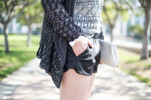 An Dyer Wearing LCt & Lucca Couture, Zara Faux Leather Track Shorts, Hauskrft Clutch