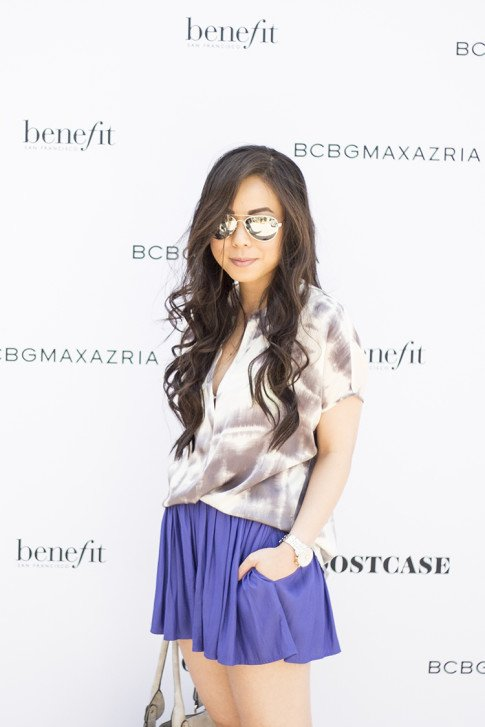 An Dyer wearing BCBGMaxazria at the brand's Benefit Beauty Bungalow Coachella 2013