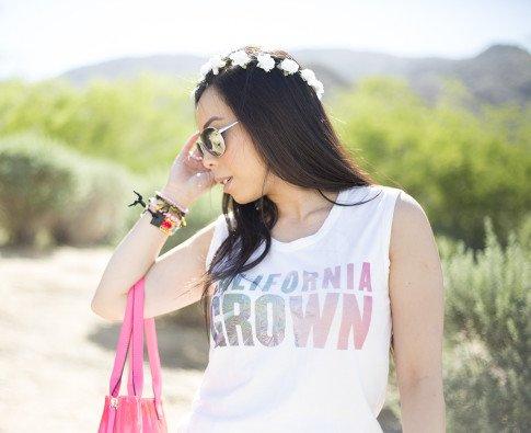 An Dyer wearing Lovers & Friends California Grown Tank, BCBGMaxazria Carly Zipper Tote in Pink, C&C California Flower Halo, Haute Betts Gypsy & Candy Pop Sweet Tarts Bracelets, Kim & Zozi
