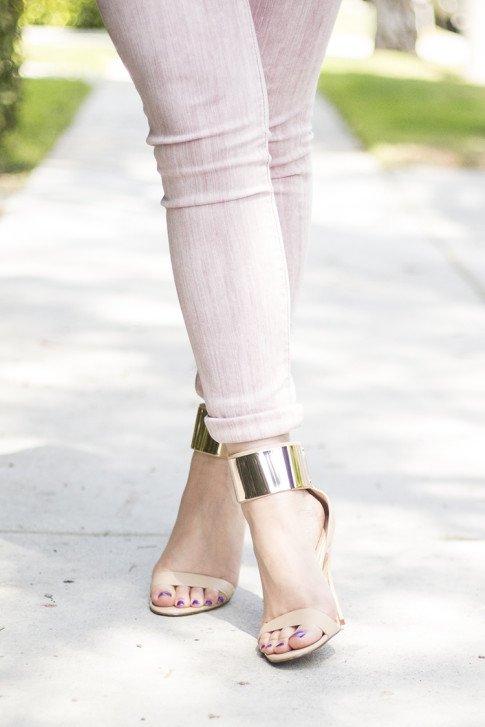 An Dyer wearing Rich & Skinny Jeans Skinny Ankle Peg in Piglet, Bebe Jacqueline Metal Cuff Stilleto Sandals