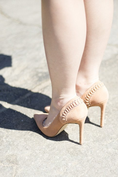 An Dyer wearing ShoeMint Lulu Nude Suede Pump