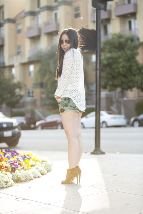 An Dyer wearing Vintage Havana Knit Top, YMI Jeans Camouflage Shorts, Sole Society Angela Booties, La Mere Watch