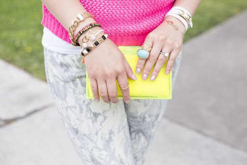 An Dyer wearing Bleulab Marble Tie Dye Jeans, Gorjana Griffin Chevron Bracelet, Zara Neon Yellow Box Clutch, Hermes Hapi 3mm, Sole Society Turquoise Oversized Stone Armor Ring, Chevron Accent knuckle ring