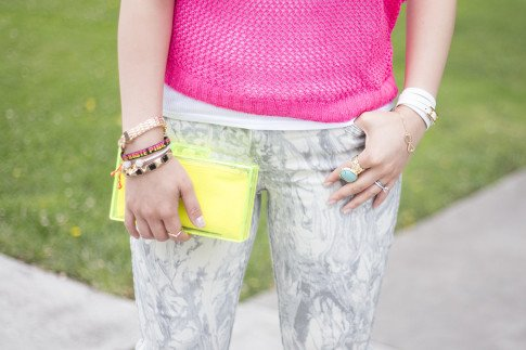 An Dyer wearing Bleulab Marble Tie Dye Jeans, Zara Neon Yellow Box Clutch, Hermes Hapi 3mm, Sole Society Turquoise Oversized Stone Armor Ring, Chevron Accent knuckle ring, infinity bracelet